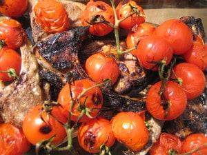 grilled lamb chops with roasted cherry tomatoes, toronto personal chef